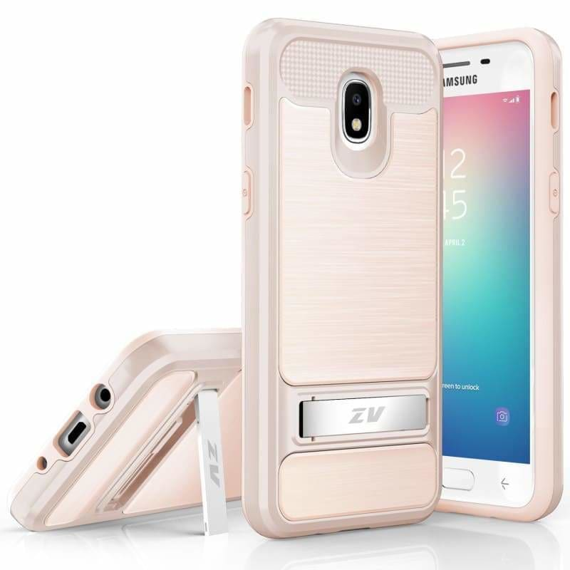 Samsung Galaxy J3 Orbit Hybrid Dual Layered Bumper Cover with a Metallic  PCTPU Bumper Case Cover, Rose Gold