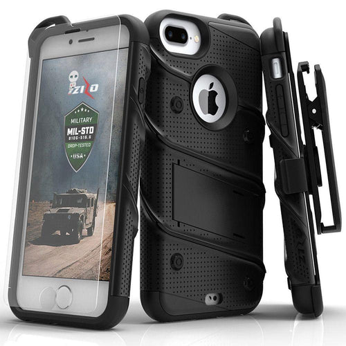 Apple Iphone 8 Plus - Bolt Heavy-Duty Rugged Case, Holster and Screen Combo, Black for Apple iPhone 6 Plus/iPhone 6s Plus/iPhone 7 Plus/iPhone 8 Plus