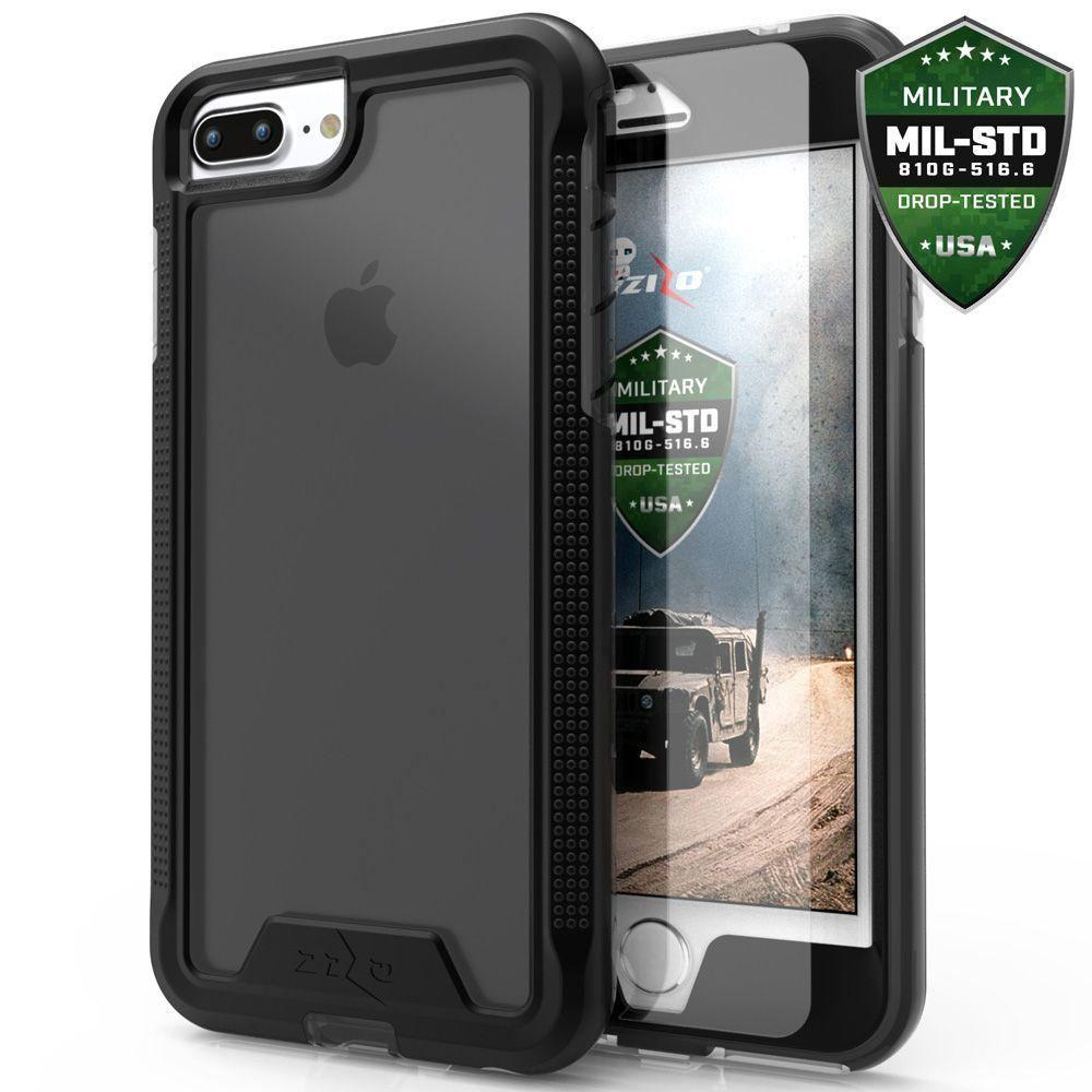 - Zizo ION Single Layered Hybrid Cover with Tempered Glass, Black/Clear for Apple iPhone 7 Plus/iPhone 8 Plus