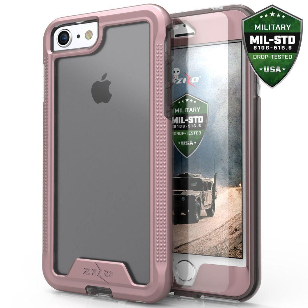 - Zizo ION Single Layered Hybrid Cover with Tempered Glass, Rose Gold/Clear for Apple iPhone 7/iPhone 8