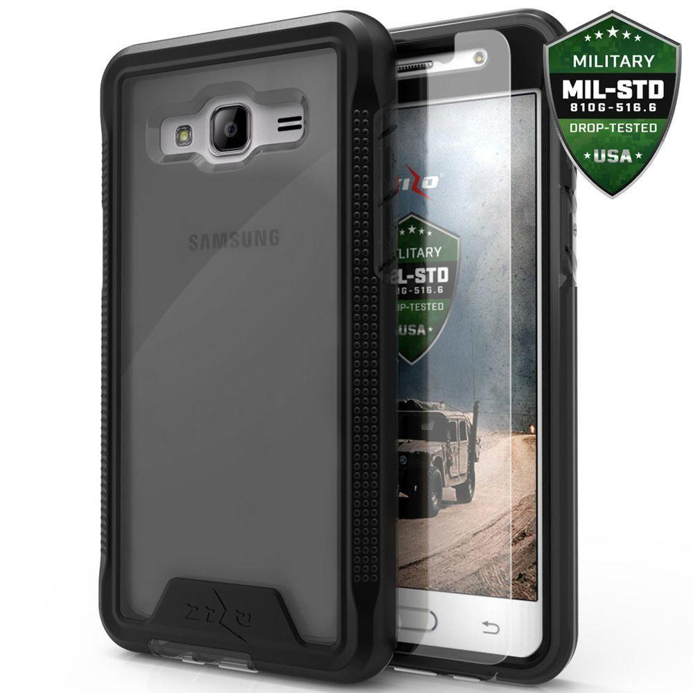 - Zizo ION Single Layered Hybrid Cover with Tempered Glass, Black/Smoke