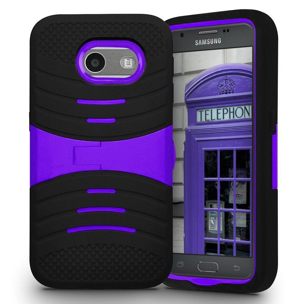 - Armor Guard Rugged Case with Kickstand, Black/Purple
