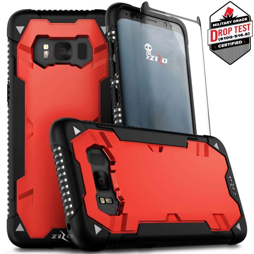 - Zizo Proton Heavy-Duty Rugged Case, with Screen Protector, Red/Black for Galaxy S8 Plus