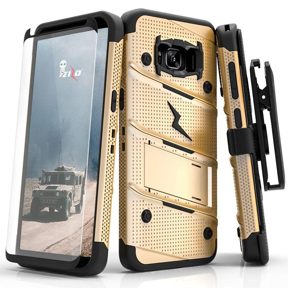 - Bolt Heavy-Duty Rugged Case, Holster and Screen Combo, Gold/Black for Samsung Galaxy S8