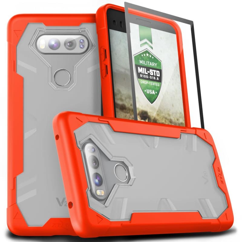 free shipping 281ca e0357 LG V20 Zizo Proton 2.0 Heavy Duty Case, Orange/Clear