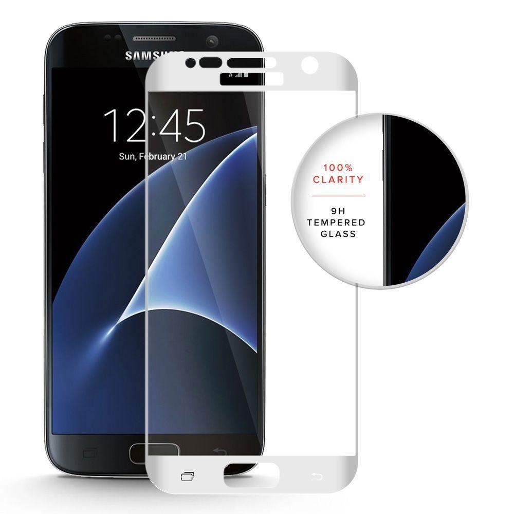 - Full Edge Colored Tempered Glass Screen Protector, White for Samsung Galaxy S7