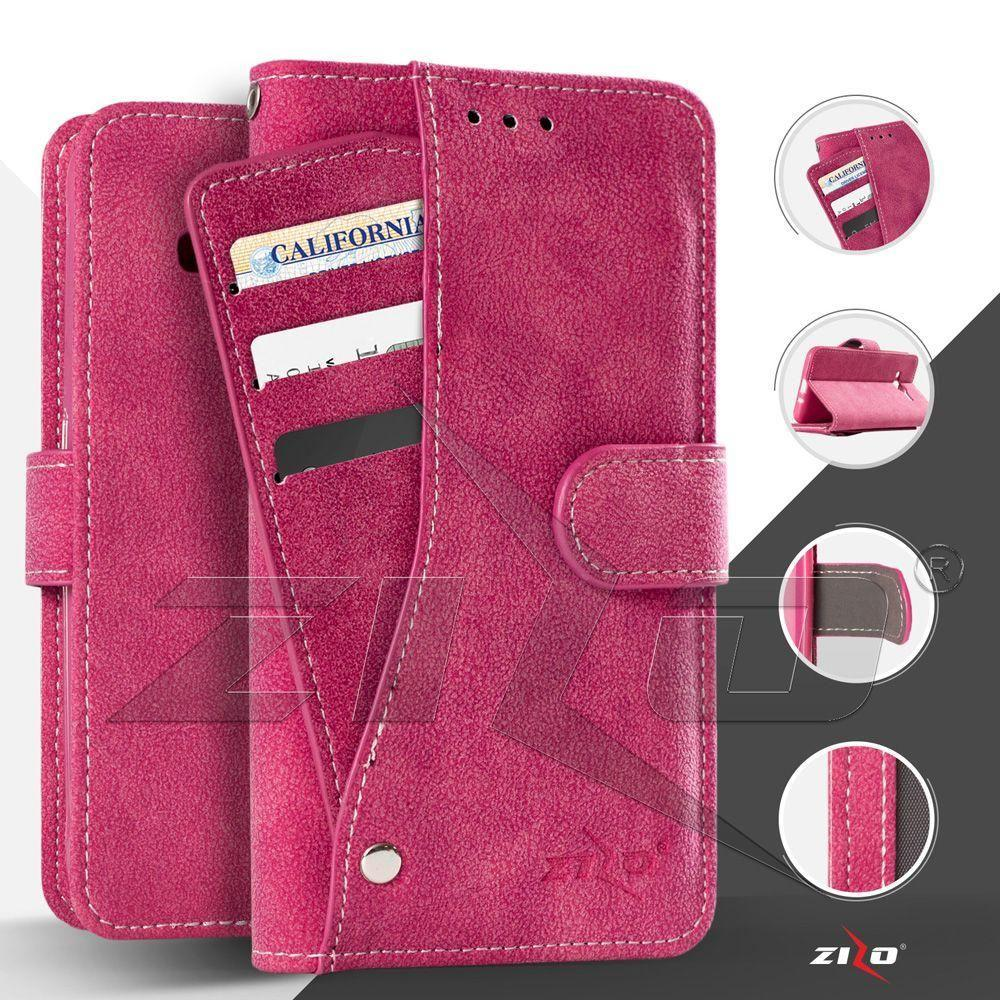 - Leather Folding Wallet Case with Slide out Card Holder, Hot Pink for Apple iPhone 7 Plus/iPhone 8 Plus