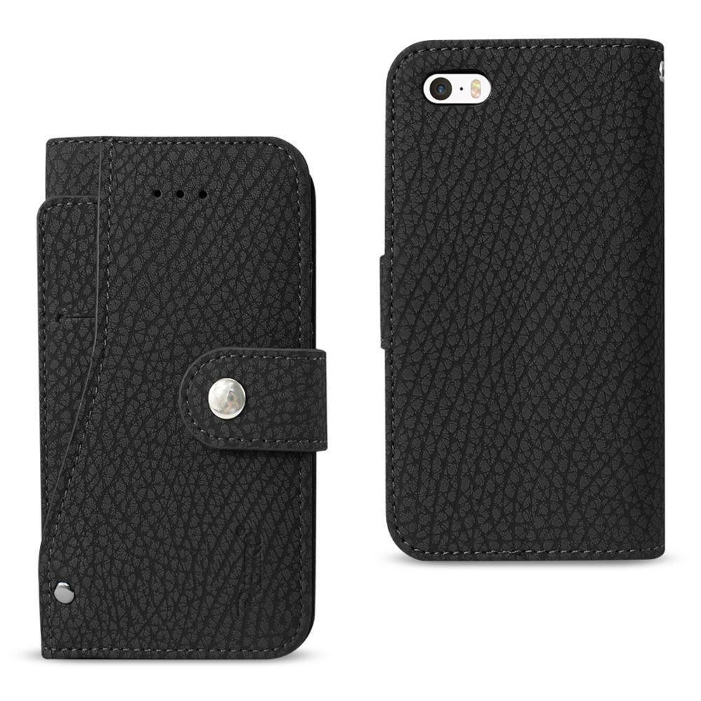 - Leather Folding Wallet Case with Slide out Card Holder, Black for Apple iPhone 5/iPhone 5s/iPhone SE