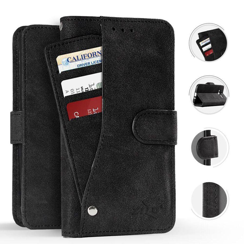 - Leather Folding Wallet Case with Slide out Card Holder, Black for Samsung Galaxy S8