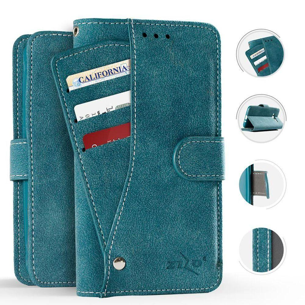 - Leather Folding Wallet Case with Slide out Card Holder, Teal for Samsung Galaxy S8