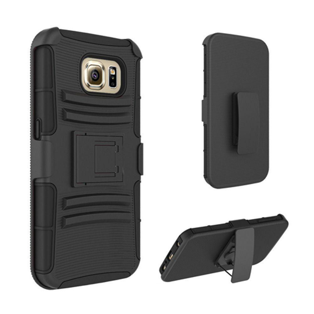 - My.Carbon 3-in-1 Rugged Case with Belt Clip Holster, Black/Black for Samsung Galaxy S7