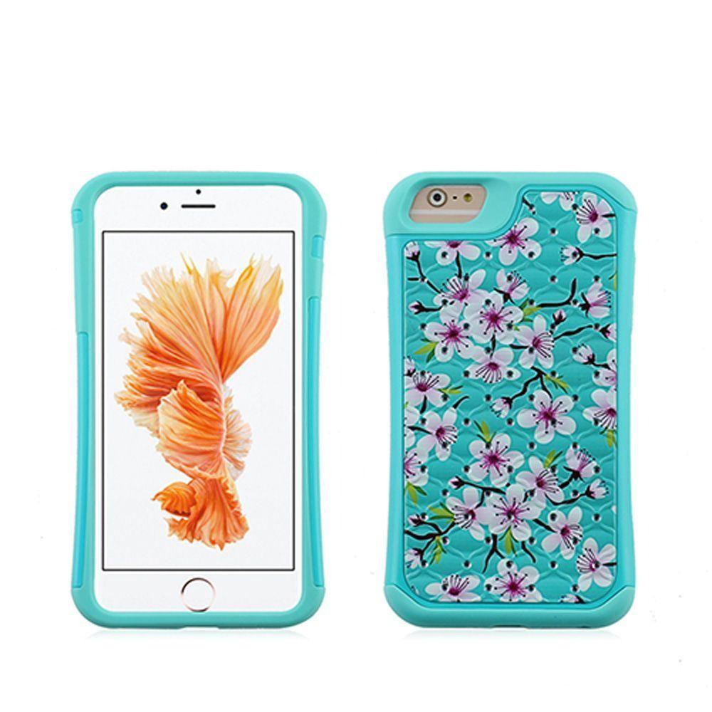 - Cherry Blossoms Studded Diamond Rugged Case, Teal for Apple iPhone 7 Plus/iPhone 8 Plus
