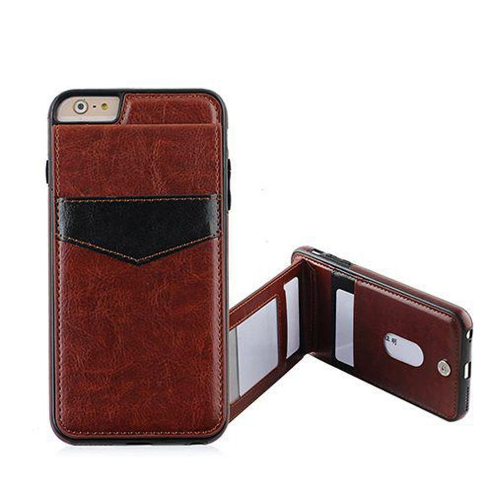 - Leather Case with Back Flip Card Slot and Stand, Brown/Black for Apple iPhone 6/iPhone 6s