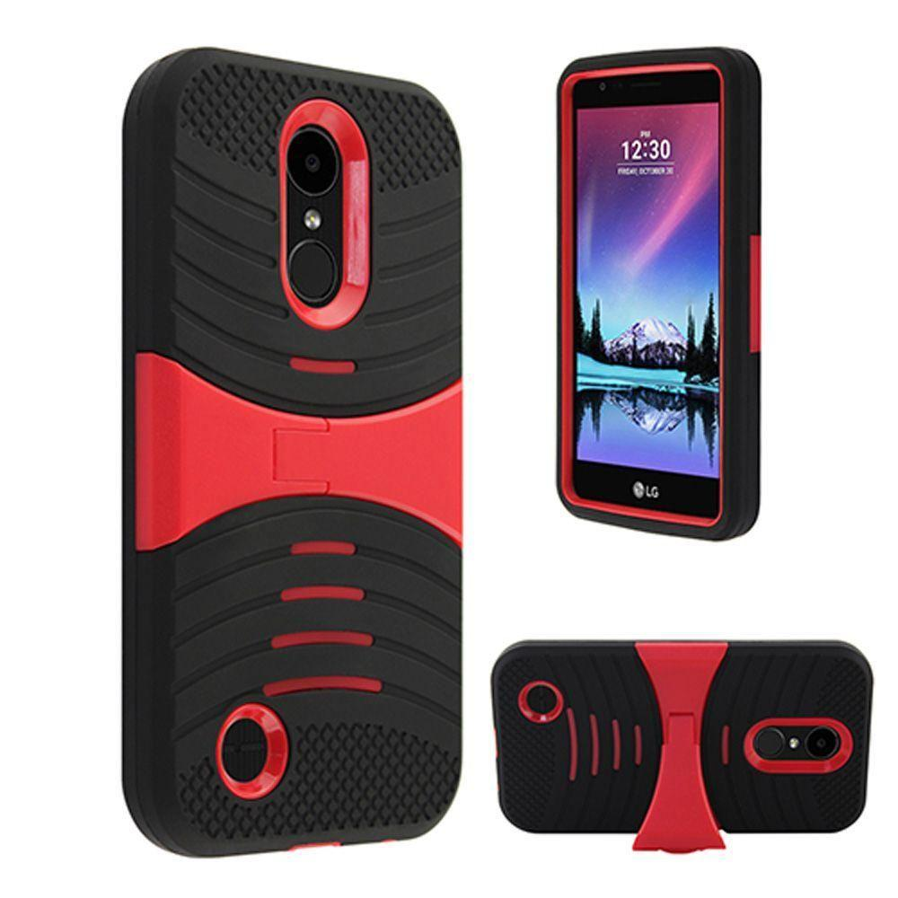 - Armor Guard Rugged Case with Kickstand, Black/Red