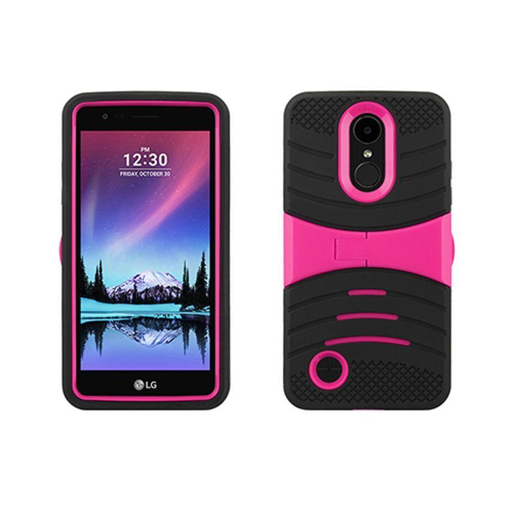 - Armor Guard Rugged Case with Kickstand, Black/Hot Pink