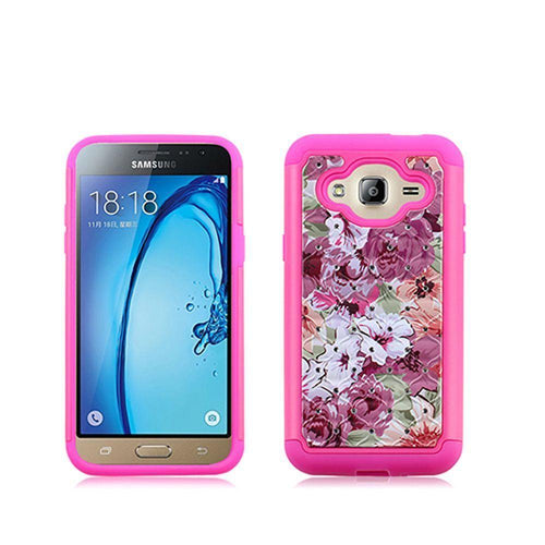 Samsung Galaxy J3 2016 - Floral Canvas Studded Diamond Rugged Case, Pink