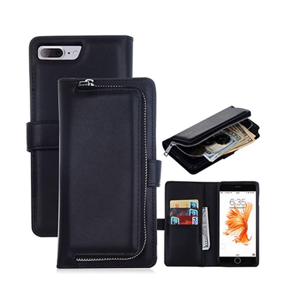 - Compact Clutch Wallet with detachable magnetic case, Black for Apple iPhone 7 Plus/iPhone 8 Plus