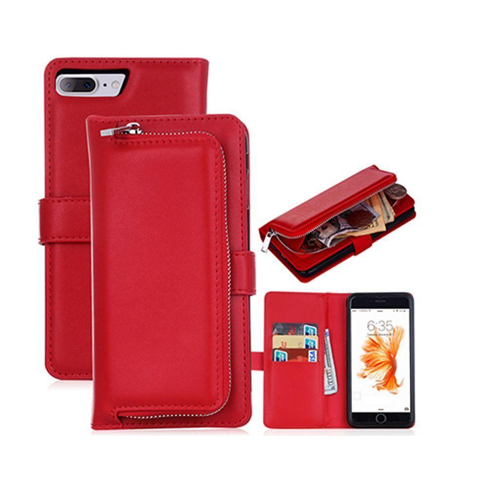 - Compact Clutch Wallet with detachable magnetic case, Red for Apple iPhone 7 Plus/iPhone 8 Plus