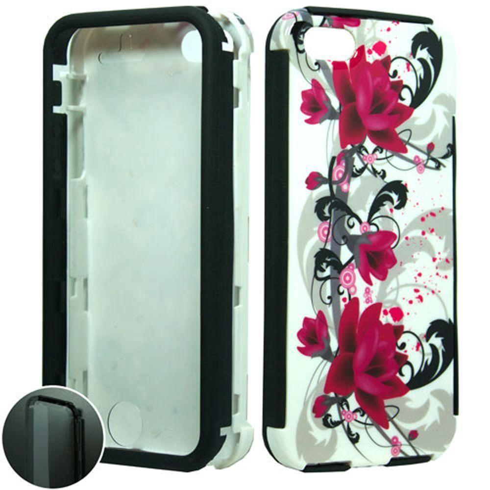 - Flowers and Vines Design Slim Fit Rugged Case, Multi-Color for Apple iPhone 5/iPhone 5s/iPhone SE