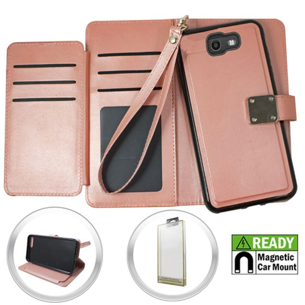 - Magnetic Leather Wallet with Extra Card Flap and Wristlet, Rose Gold