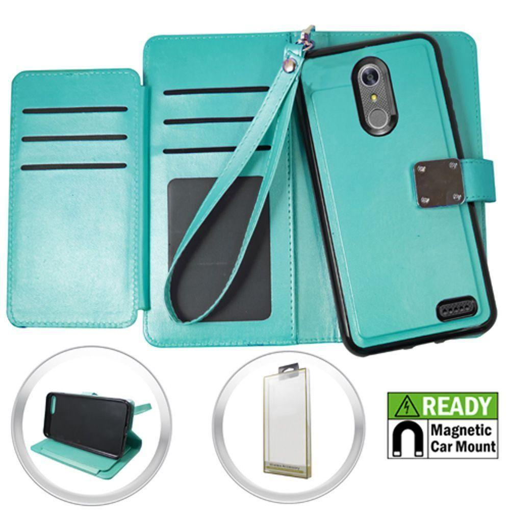 - Magnetic Leather Wallet with Extra Card Flap and Wristlet, Teal