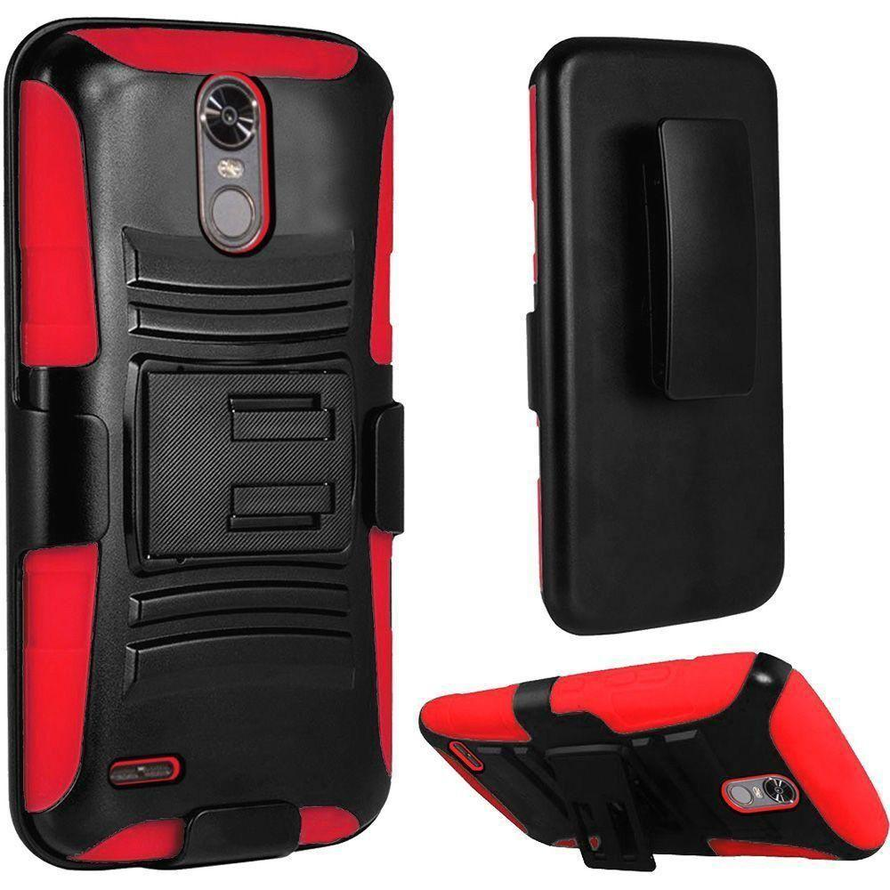- My.Carbon 3-in-1 Rugged Case with Holster, Black/Red