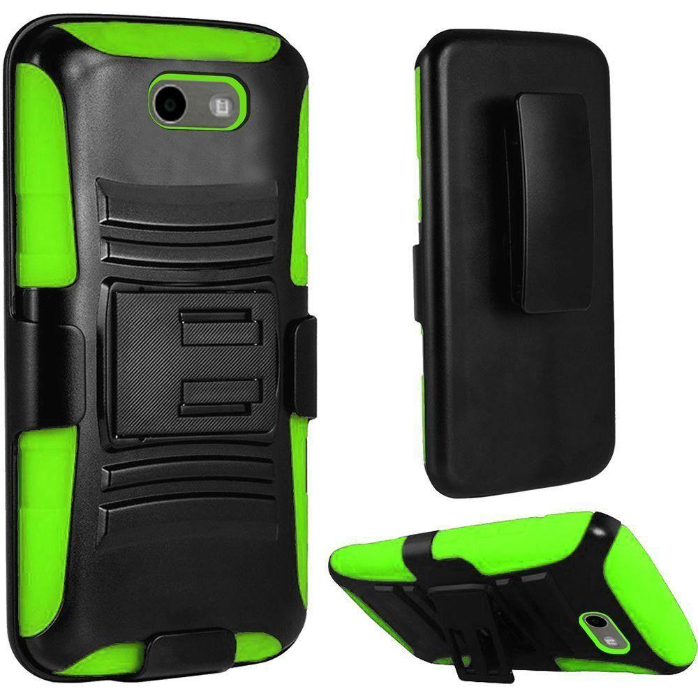 - My.Carbon 3-in-1 Rugged Case with Belt Clip Holster, Black/Green