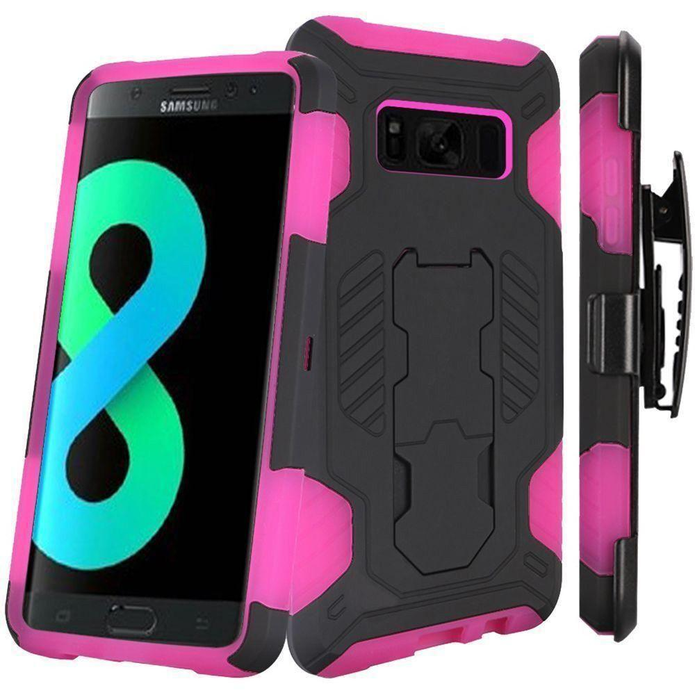 - Mantas Heavy-Duty Rugged Case with Stand and Holster Combo, Black/Pink for Galaxy S8 Plus