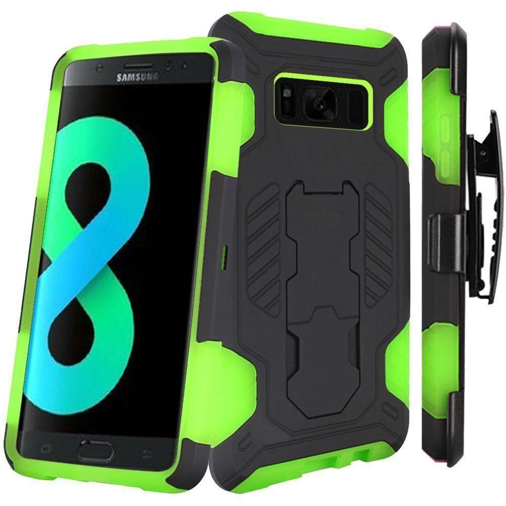 - Mantas Heavy-Duty Rugged Case with Stand and Holster Combo, Black/Neon Green for Galaxy S8 Plus