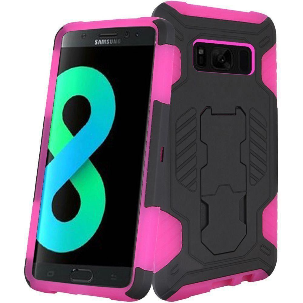 - Mantas Heavy-Duty Rugged Case with Stand, Black/Hot Pink for Galaxy S8 Plus
