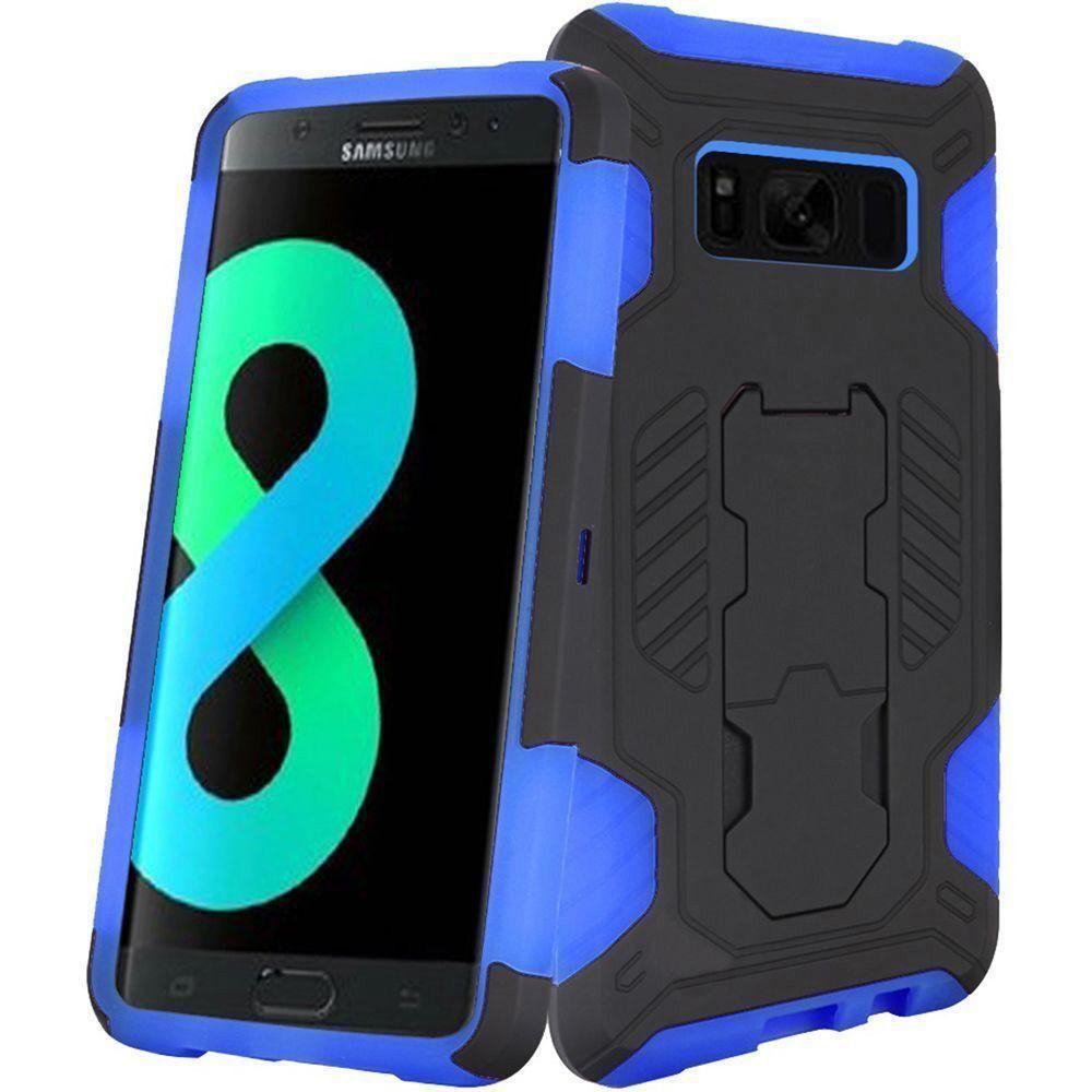 - Mantas Heavy-Duty Rugged Case with Stand, Black/Blue for Galaxy S8 Plus