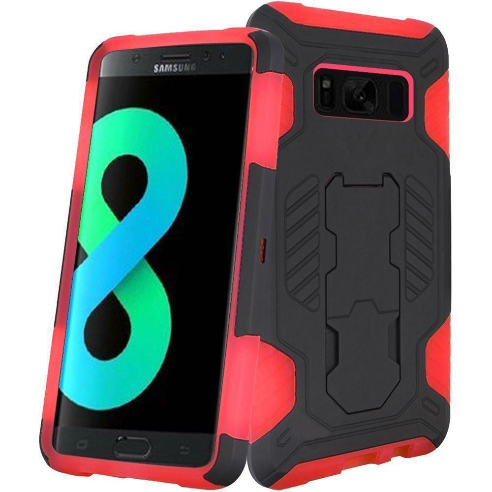 - Mantas Heavy-Duty Rugged Case with Stand, Black/Red for Galaxy S8 Plus