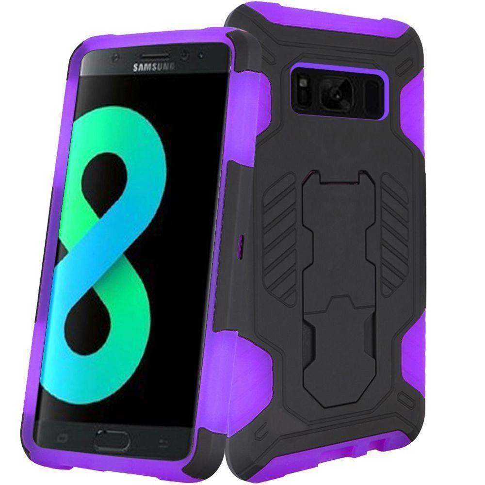 - Mantas Heavy-Duty Rugged Case with Stand, Black/Purple for Galaxy S8 Plus