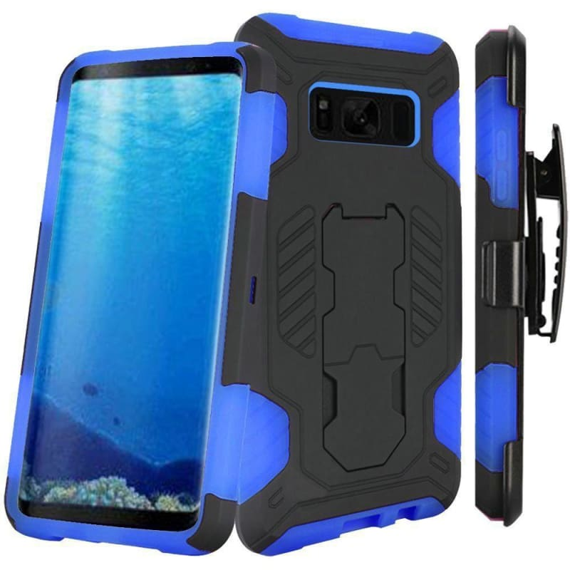 new style 5375f 215e3 Samsung Galaxy S8 Mantas Heavy-Duty Rugged Case with Stand and Holster  Combo, Blue/Black
