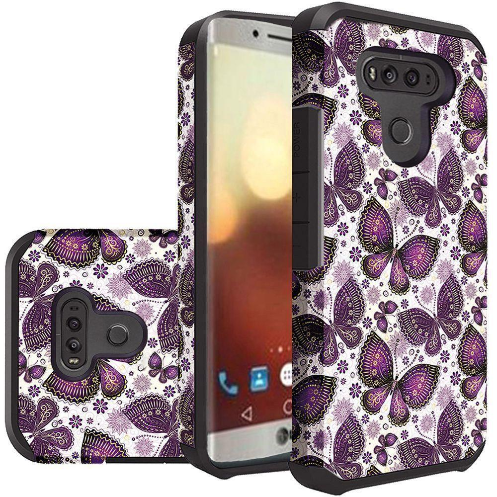 - Paisley Butterflies Design Slim Hybrid Rugged Case, Purple/White
