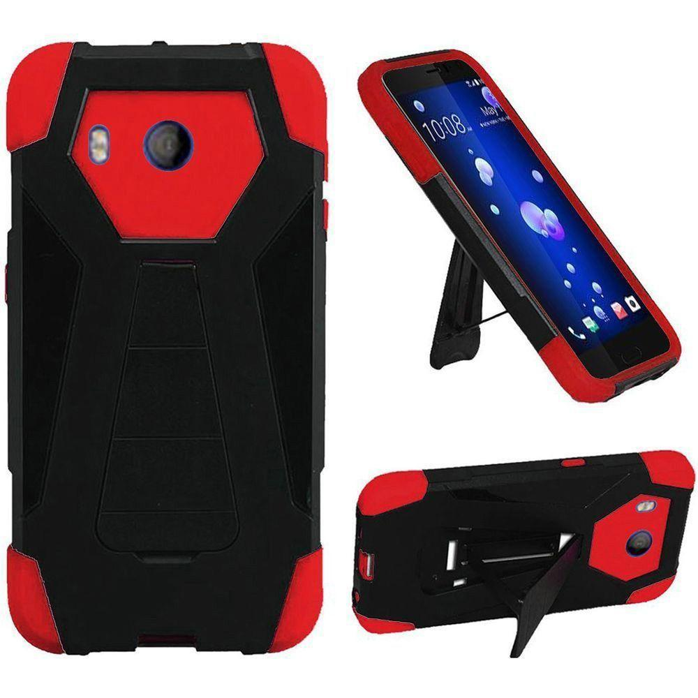 - Mighty Dual Layer Rugged Case with Kickstand, Black/Red
