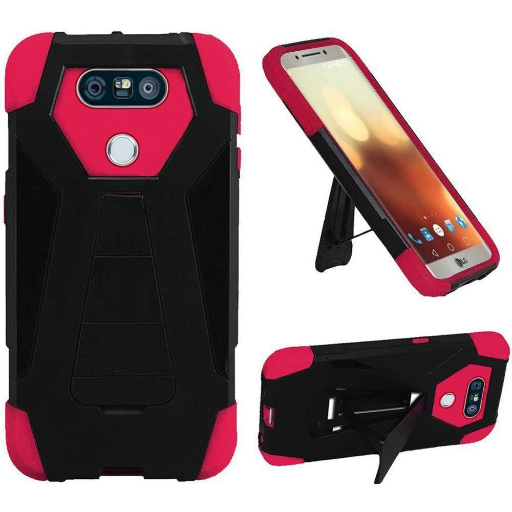 - Mighty Dual Layer Rugged Case with Kickstand, Black/Pink