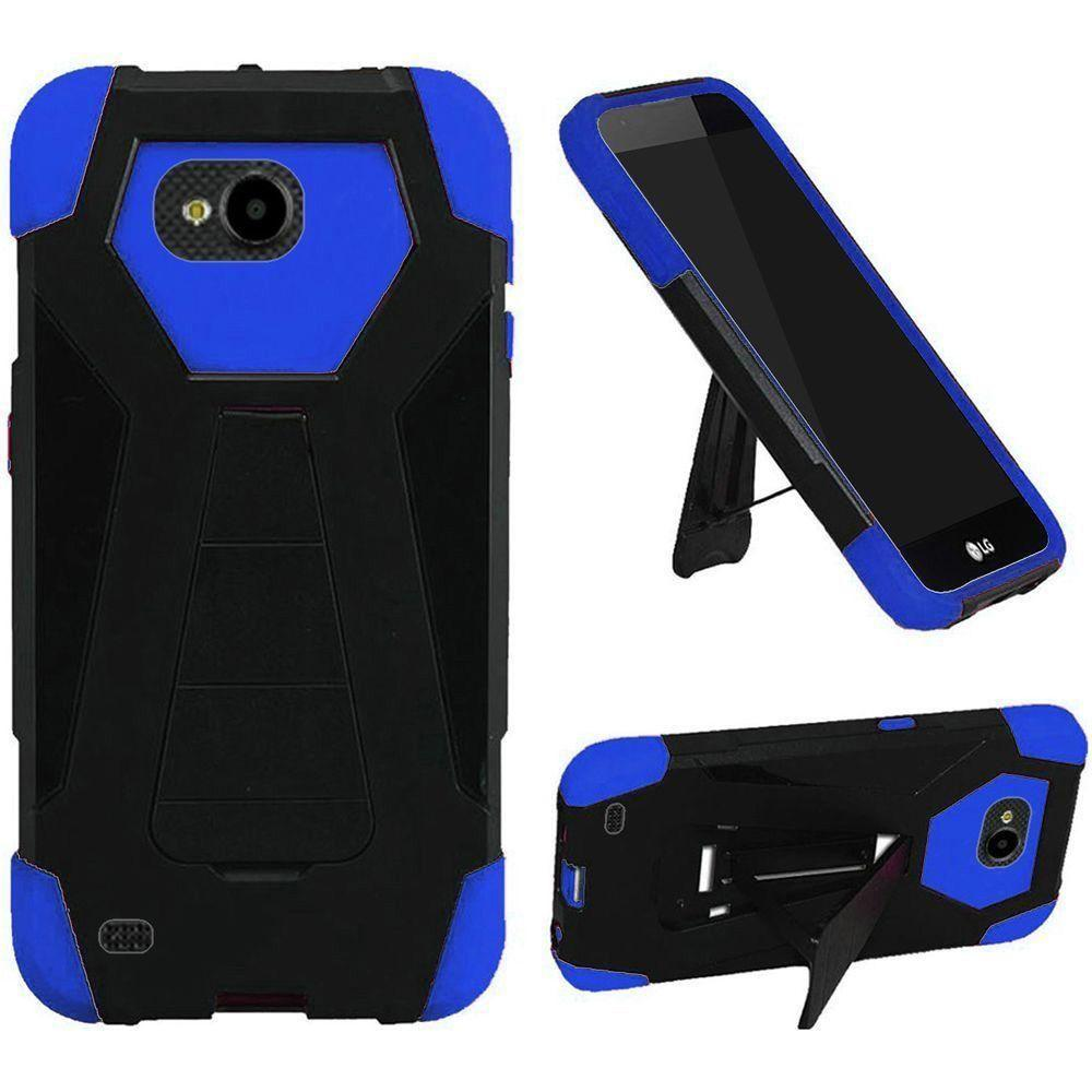 - Mighty Dual Layer Rugged Case with Kickstand, Black/Blue