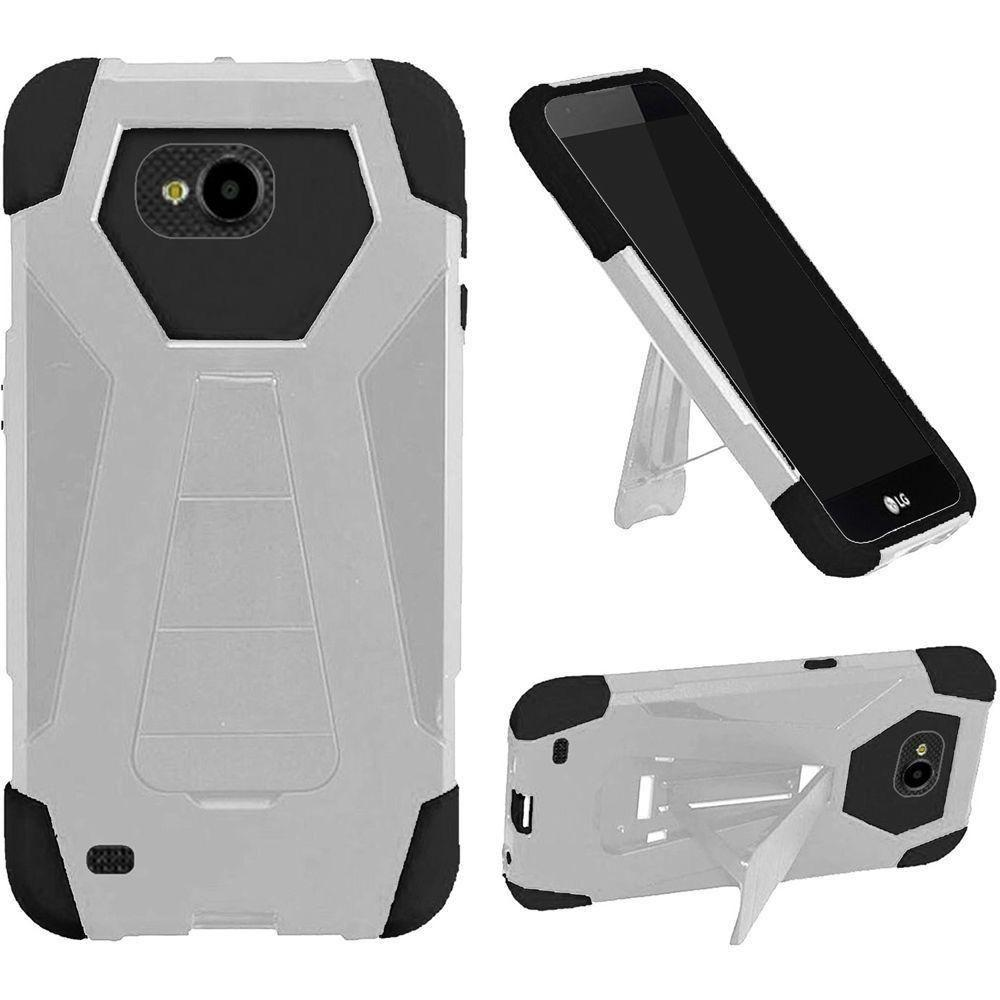 - Mighty Dual Layer Rugged Case with Kickstand, White/Black