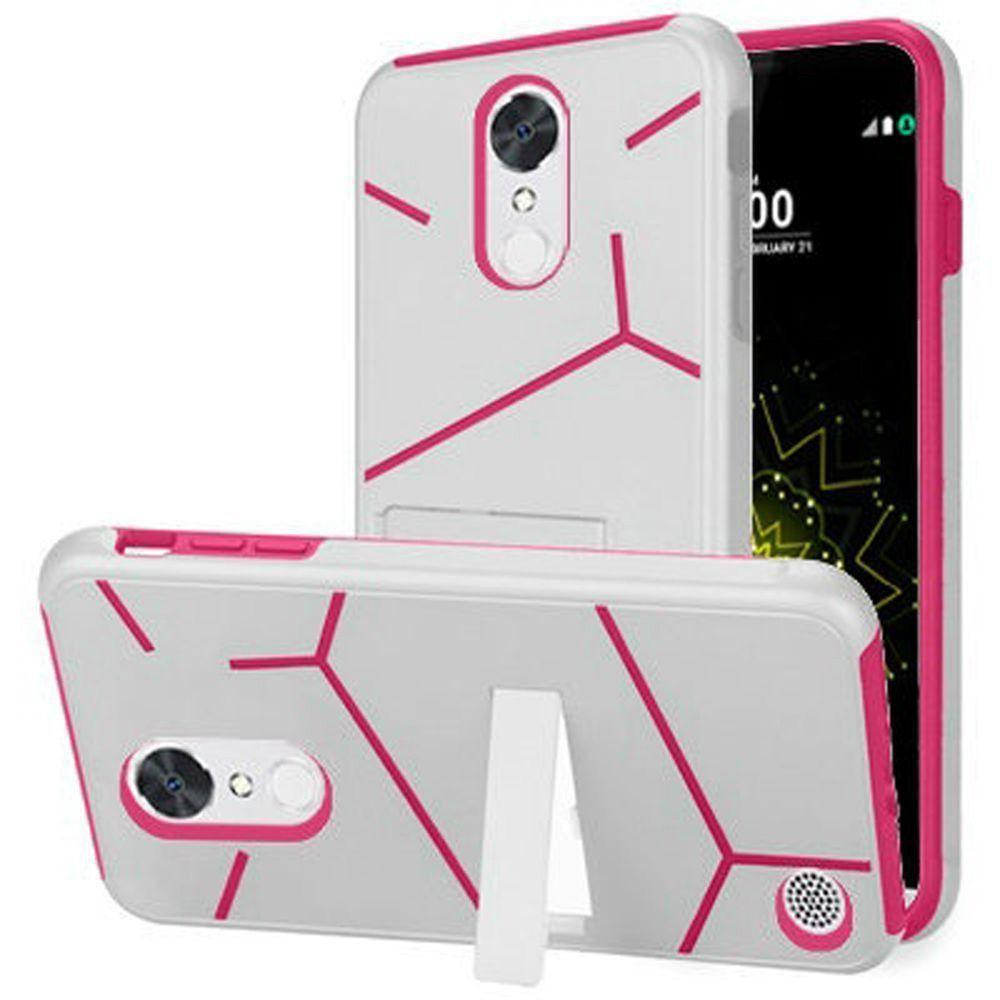 - Slim HLX Hybrid Phone Case with Kickstand, White/Hot Pink