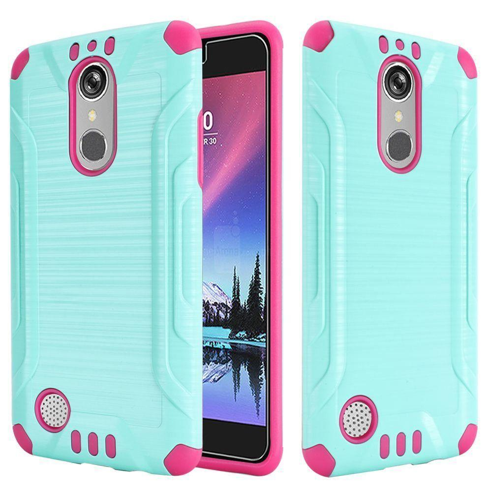 - Brushed Metal Design Combat Hybrid Rugged Case, Green/Pink