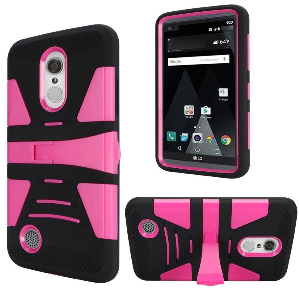 - V2 Armor Guard Rugged Case with Kickstand, Black/Hot Pink