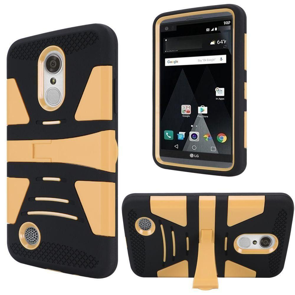 - V2 Armor Guard Rugged Case with Kickstand, Gold/Black