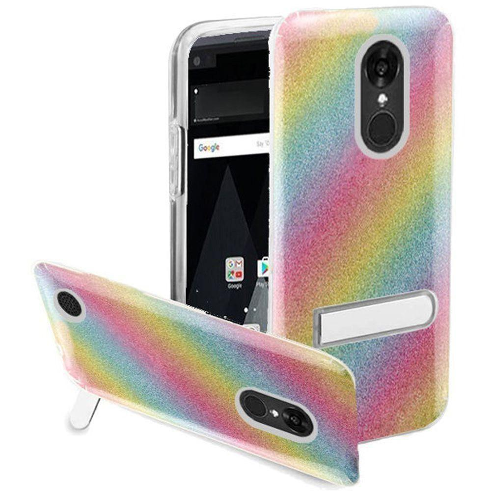- Rainbow Glitter Rugged Case with Metal Kickstand, Multi-Color