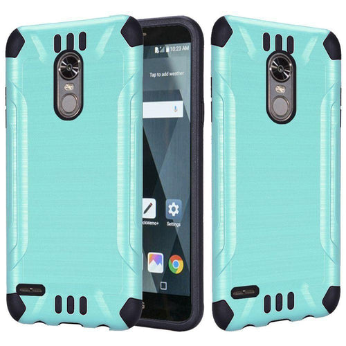 Phone Cases & Covers - Brushed Metal Design Combat Hybrid Rugged Case, Teal/Black