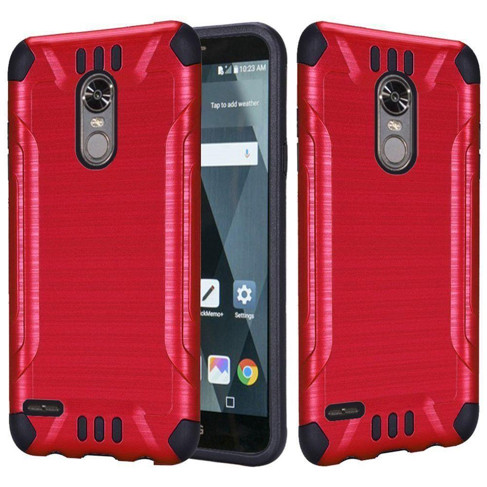 - Brushed Metal Design Combat Hybrid Rugged Case, Red/Black
