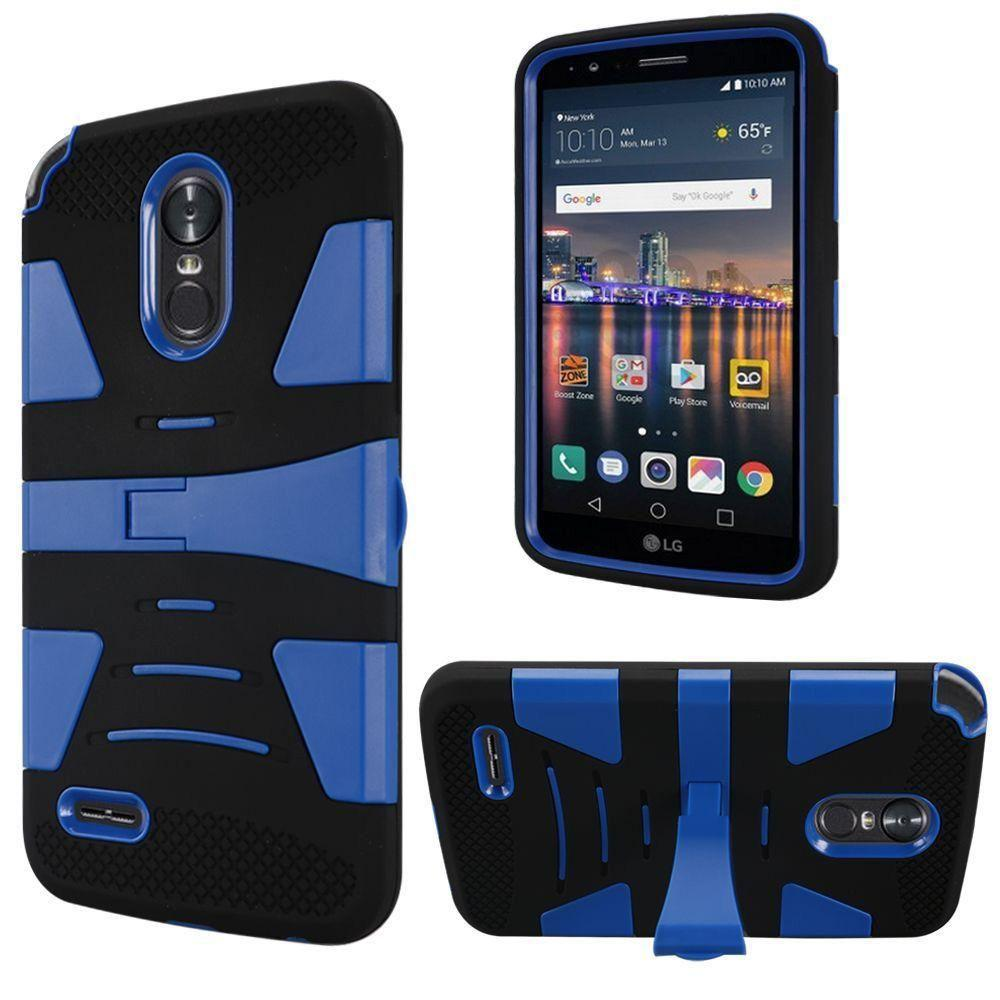 - V2 Armor Guard Rugged Case with Kickstand, Black/Blue