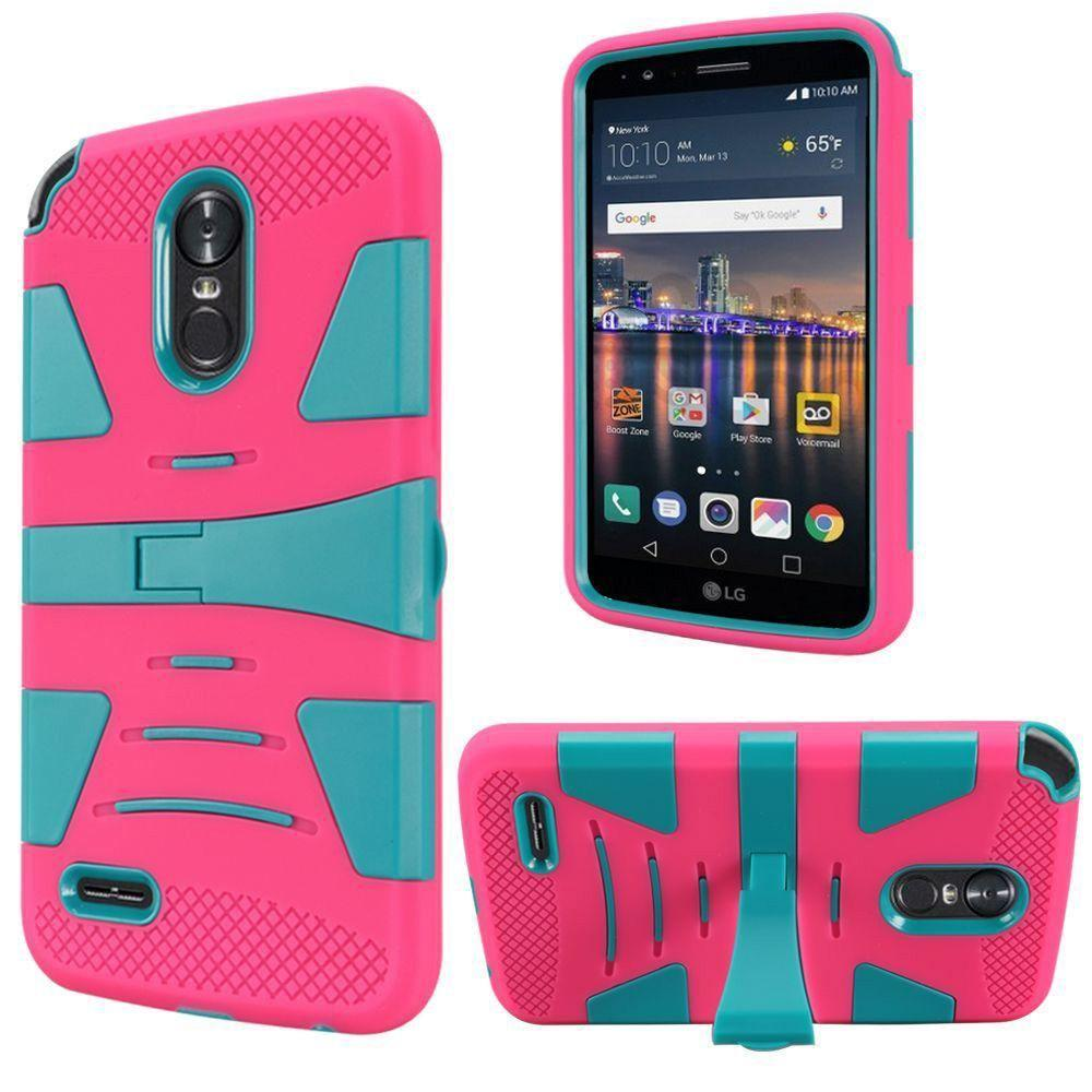 - V2 Armor Guard Rugged Case with Kickstand, Hot Pink/Teal