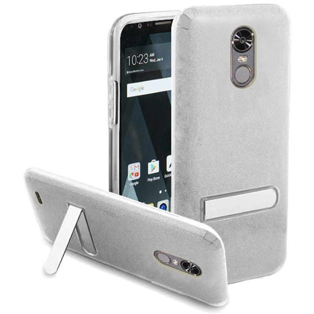 - Glitter Rugged Case with Metal Kickstand, Silver/Clear