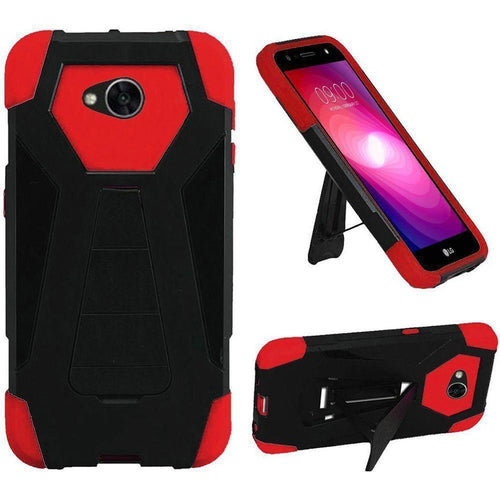 Phone Cases & Covers - Mighty Dual Layer Rugged Case with Kickstand, Black/Red